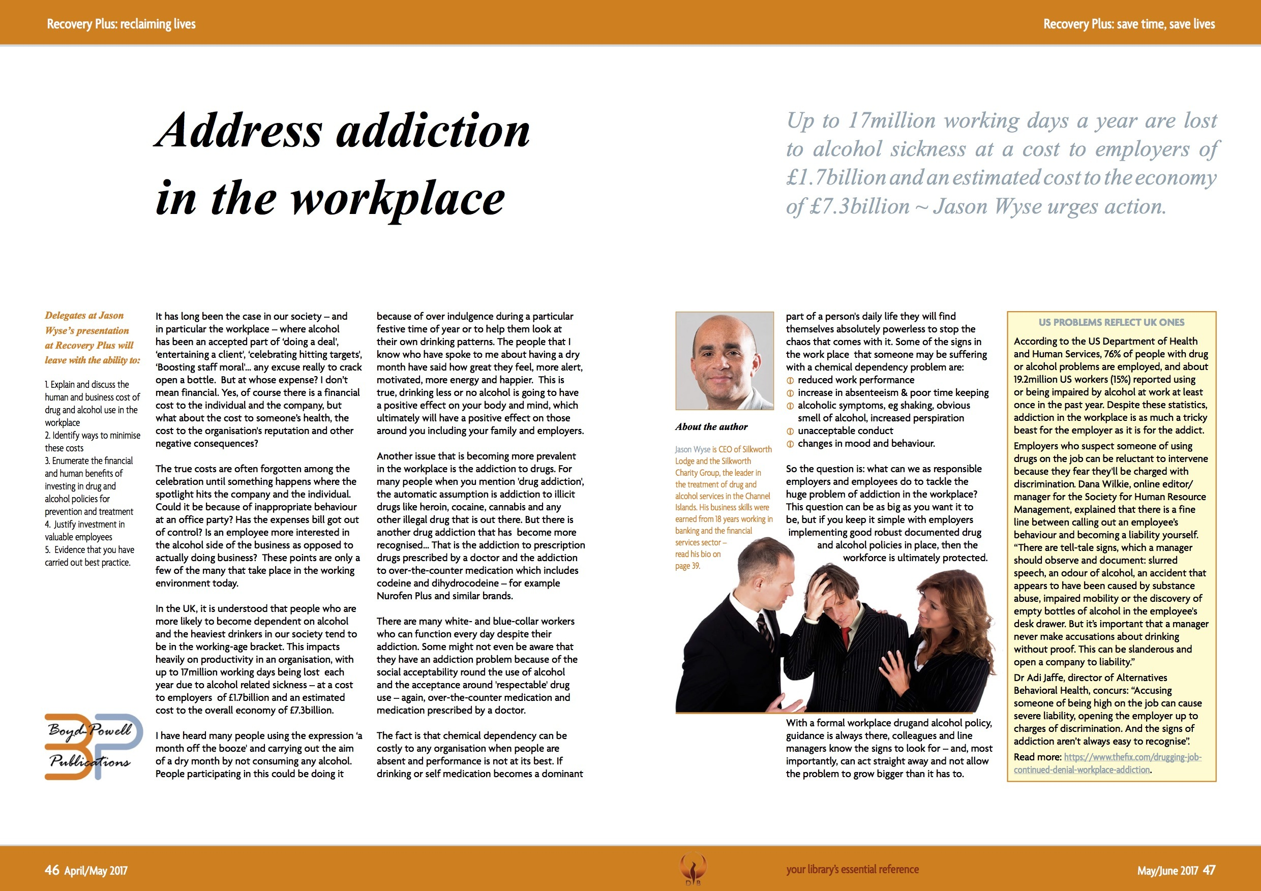Recovery Plus May June 2017 Jason Wyse Workplace Article