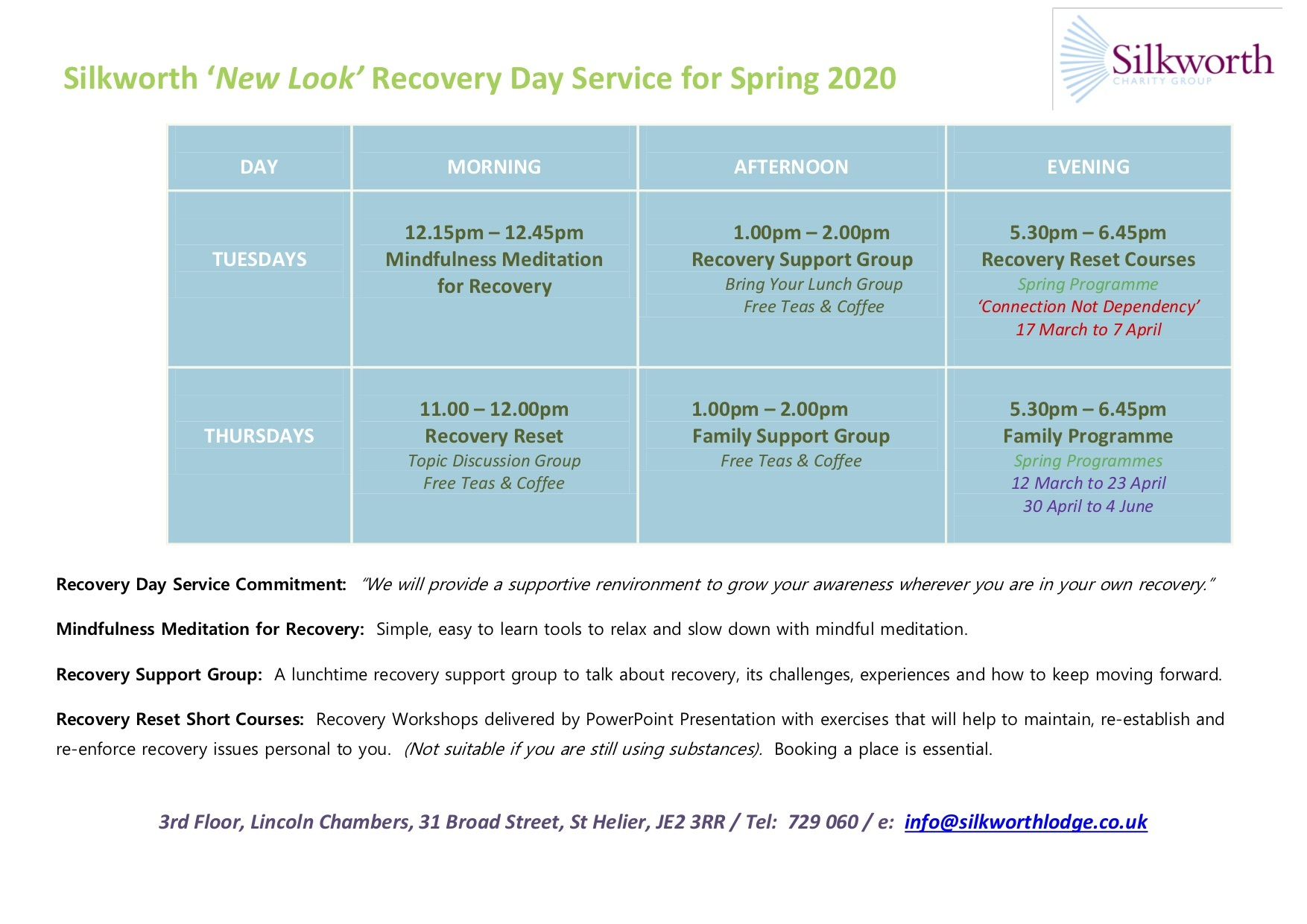 Day Service Timetable Spring 2020 V2